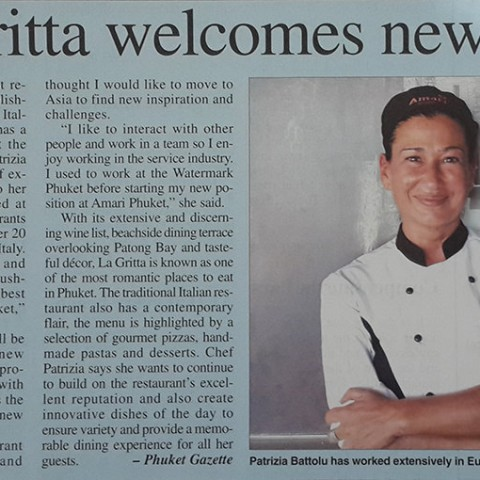 La Gritta in Phuket Gazette Newspaper